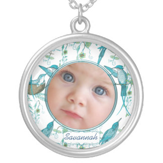 Vintage Hummingbirds Baby Photo Necklace