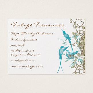 Vintage Hummingbirds Swirl Design Business Card