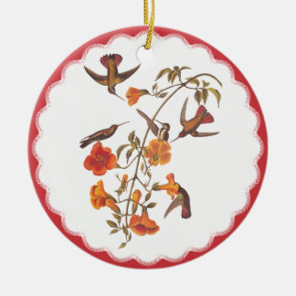 Vintage Hummingbirds with Flowering Trumpet Vine Christmas Ornament