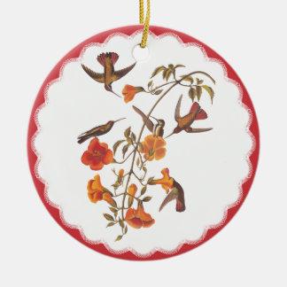 Vintage Hummingbirds with Flowering Trumpet Vine Round Ceramic Decoration