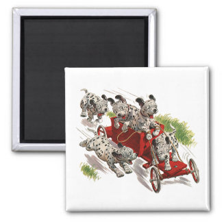 Vintage Humor Cute Dalmatian Puppy Dogs Fire Truck Square Magnet