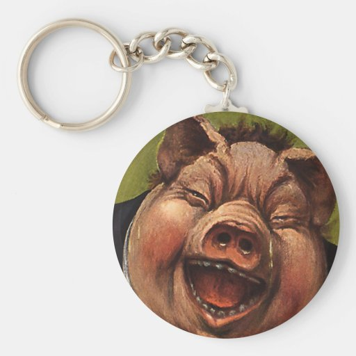 Vintage Humor, Funny, Silly, Jolly Laughing Pig Keychain