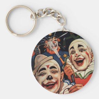 Vintage Humor, Laughing Circus Clowns and Police Key Ring