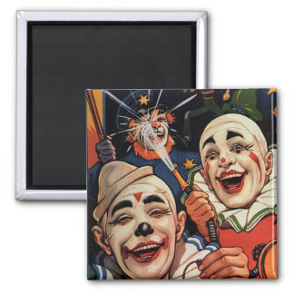 Vintage Humor, Laughing Circus Clowns and Police Magnet
