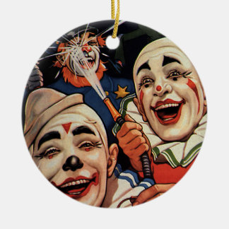 Vintage Humor, Laughing Circus Clowns and Police Round Ceramic Decoration