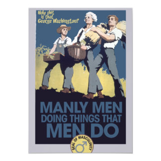 Vintage Humor Manly MEN 13 Cm X 18 Cm Invitation Card