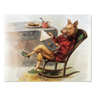 Vintage Humor, Pig in Rocking Chair Reading a Book 11 Cm X 14 Cm Invitation Card