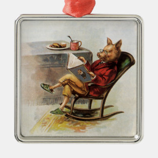 Vintage Humor, Pig in Rocking Chair Reading a Book Silver-Colored Square Decoration