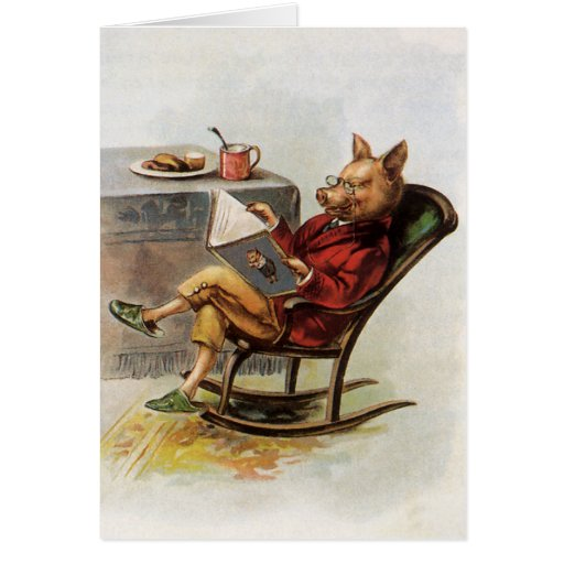 Vintage Humor, Pig Reading a Book in Rocking Chair Greeting Card