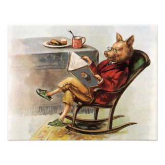 Vintage Humor, Pig Reading a Book in Rocking Chair Personalized Announcements