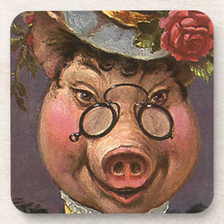 Vintage Humor, Silly and Funny Victorian Lady Pig Beverage Coasters