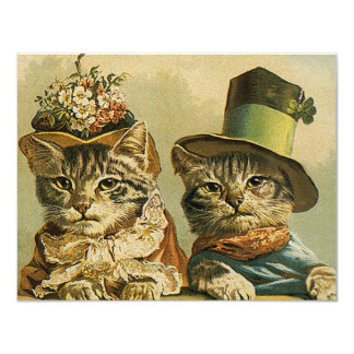 Vintage Humor, Victorian Bride Groom Cats in Hats Card