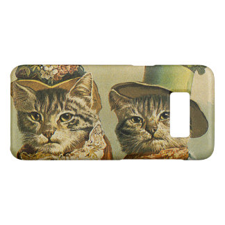 Vintage Humor, Victorian Bride Groom Cats in Hats Case-Mate Samsung Galaxy S8 Case