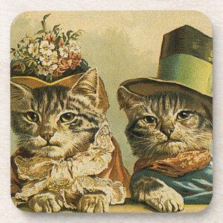 Vintage Humor, Victorian Bride Groom Cats in Hats Coasters