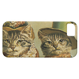 Vintage Humor, Victorian Bride Groom Cats in Hats iPhone 5 Case