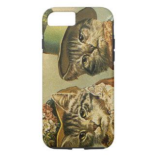 Vintage Humor, Victorian Bride Groom Cats in Hats iPhone 8/7 Case