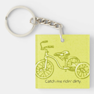 Vintage Humorous Kids Tricycle Bike Ridin' Dirty Single-Sided Square Acrylic Key Ring