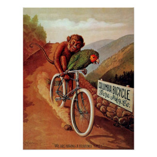 Vintage Humorous Monkey Parrot Bicycle Ride Poster
