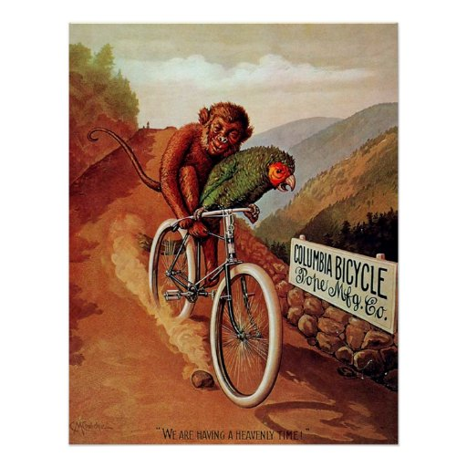 Vintage Humorous Monkey Parrot Bicycle Ride Posters