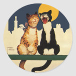 Vintage Humour Funny Silly Animals, Cats Singing Round Stickers