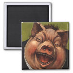 Vintage Humour, Funny, Silly, Jolly Laughing Pig Square Magnet