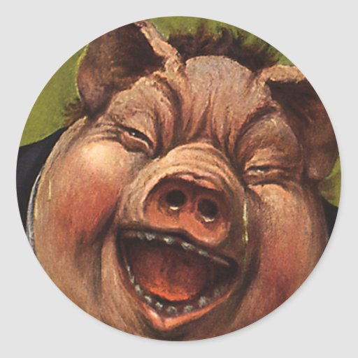 Vintage Humour, Funny, Silly, Jolly Laughing Pig Round Stickers