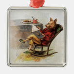 Vintage Humour, Pig in Rocking Chair Reading a Silver-Colored Square Decoration