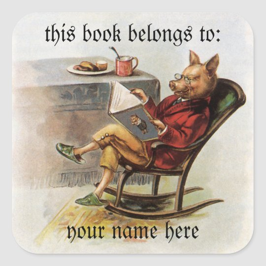 Vintage Humour, Pig Reading a Book Bookplate Square Sticker