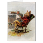 Vintage Humour, Pig Reading a Book in Rocking