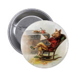 Vintage Humour, Pig Reading a Book in Rocking 6 Cm Round Badge