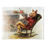 Vintage Humour, Pig Reading a Book in Rocking Personalized Announcement