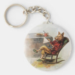 Vintage Humour, Pig Reading a Book in Rocking Basic Round Button Key Ring