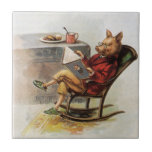 Vintage Humour, Pig Reading a Book in Rocking Small Square Tile