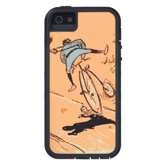 Vintage Humourous Man Bicycle Ride Fall Cat Orange iPhone 5 Case