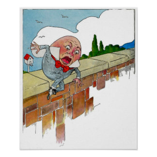 Vintage Humpty Dumpty Nursery Rhyme Illustration Poster