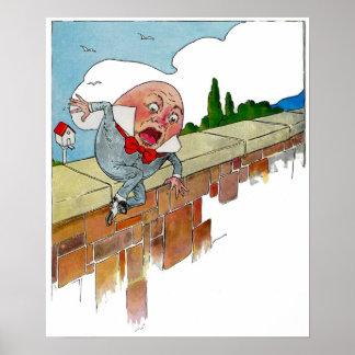 Vintage Humpty Dumpty Nursery Rhyme Illustration Poster