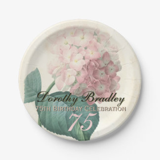 Vintage Hydrangea 75th Birthday Party Paper Plates 7 Inch Paper Plate