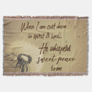 Vintage Hymn Typography He Whispers Sweet Peace Throw Blanket