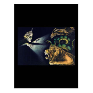 Vintage Hypnotism...man and a lion Postcard