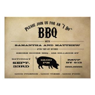 Vintage I Do BBQ After Wedding Invite