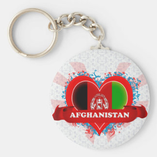 Vintage I Love Afghanistan Basic Round Button Key Ring