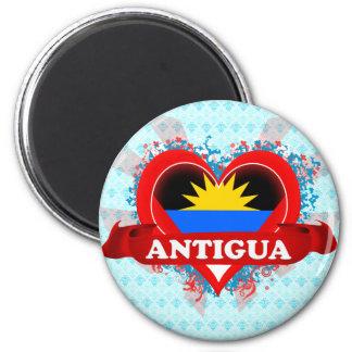 Vintage I Love Antigua 6 Cm Round Magnet