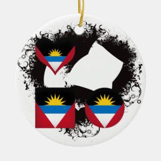 Vintage I Love Antigua and Barbuda Round Ceramic Decoration