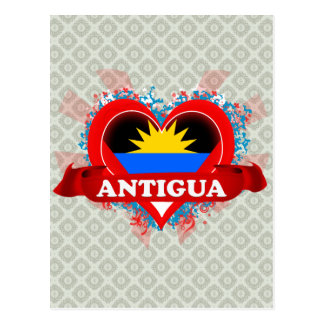 Vintage I Love Antigua Postcard