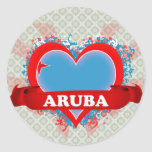 Vintage I Love Aruba Round Stickers