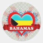 Vintage I Love Bahamas Round Stickers