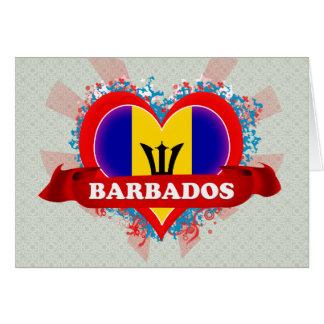 Vintage I Love Barbados Greeting Card