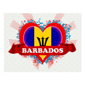 Vintage I Love Barbados Postcard