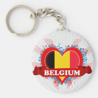 Vintage I Love Belgium Key Ring