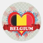 Vintage I Love Belgium Round Stickers